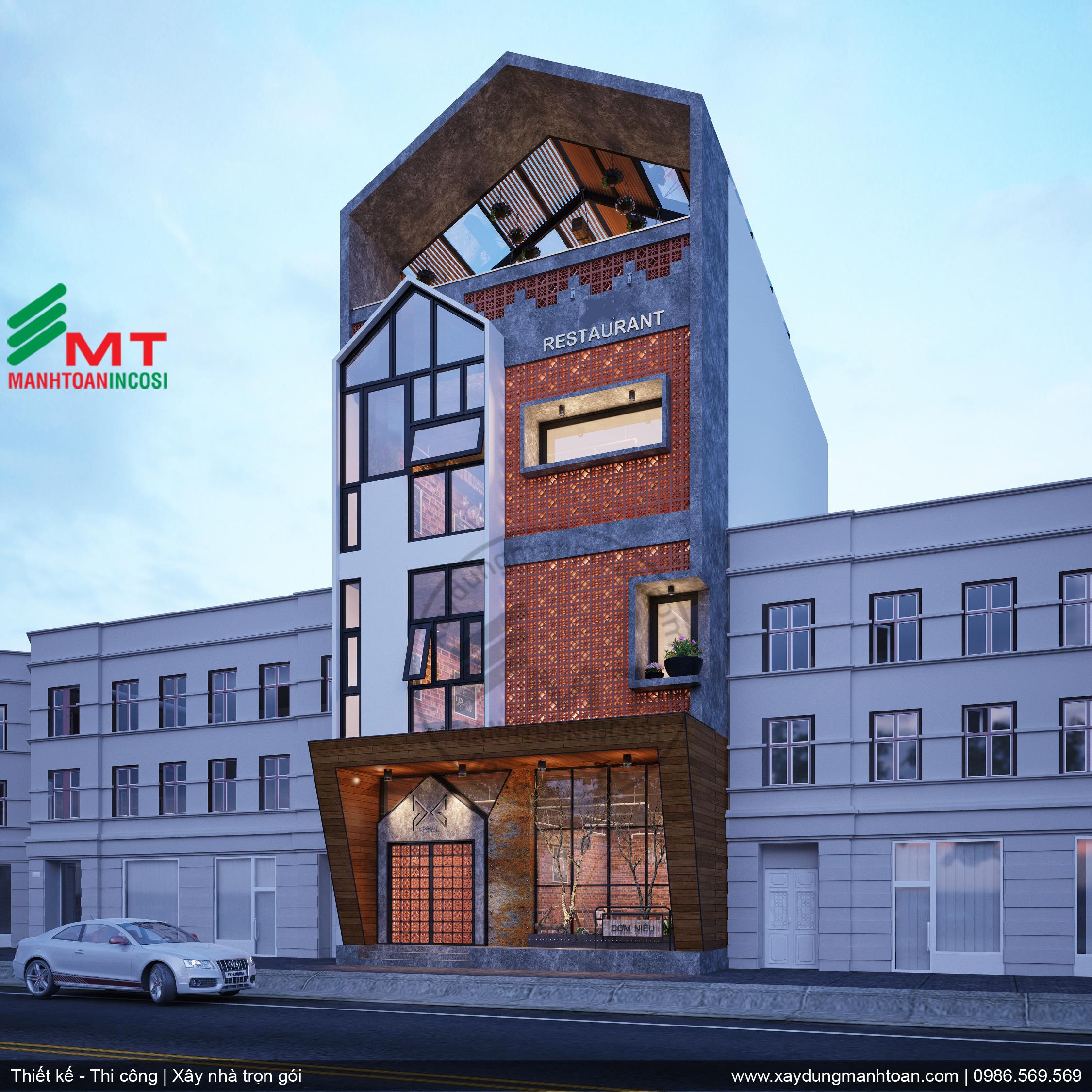 Thiết kế ngoại thất - nhà hàng tại Hạ Long - Quảng Ninh do Mạnh Toàn incosi thực hiện