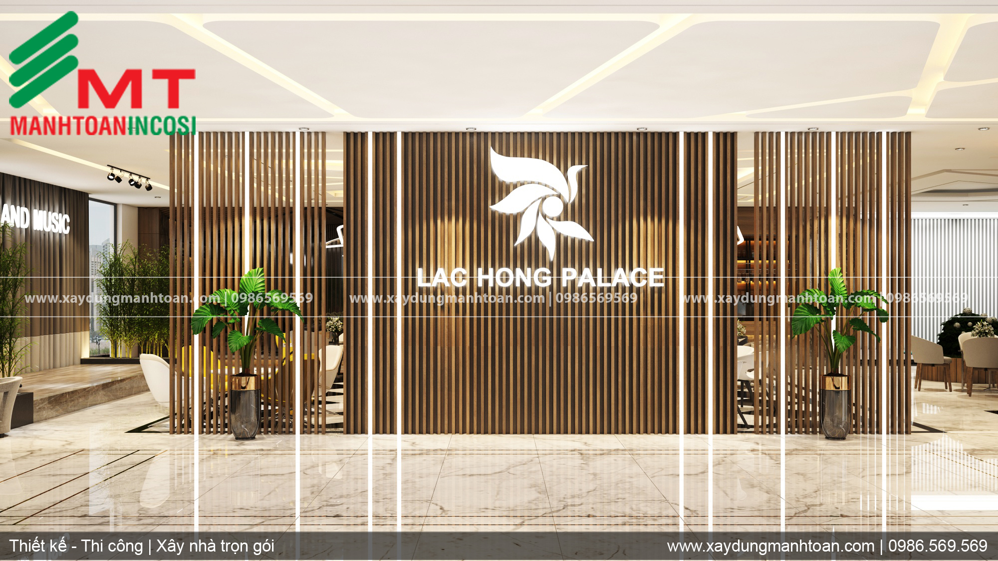 Tầng 1 coffe trung tâm tiệc cưới sự kiện Lạc Hồng, thiết kế nội thất trung tâm tiệc cưới, sự kiện