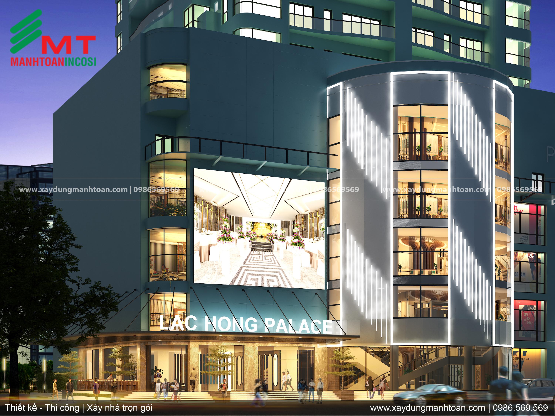 Mặt tiền trung tâm tiệc cưới sự kiện Lạc Hồng, thiết kế nội thất trung tâm tiệc cưới, sự kiện