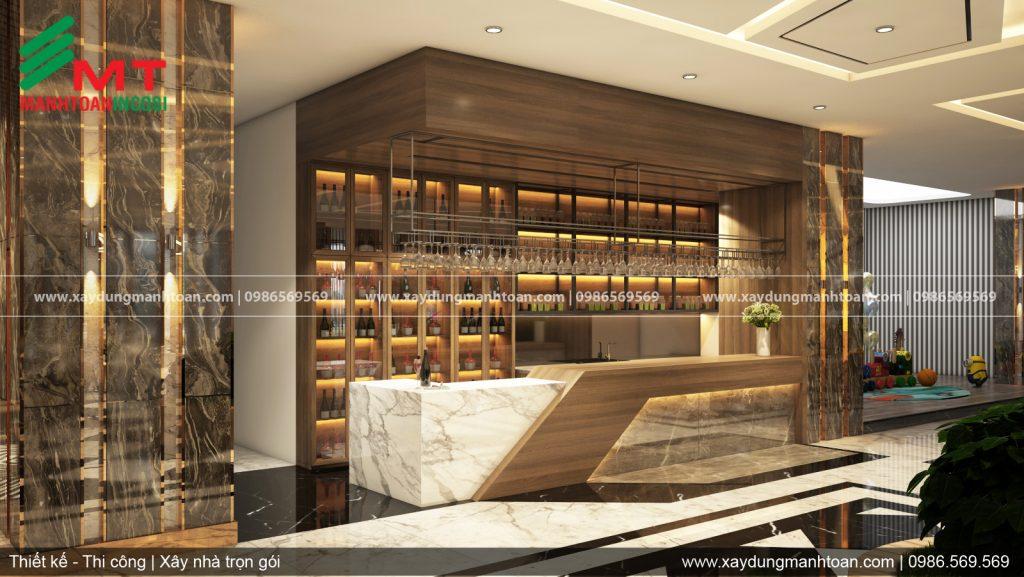 Tầng 1 quầy bar coffe trung tâm tiệc cưới sự kiện Lạc Hồng, thiết kế nội thất trung tâm tiệc cưới, sự kiện