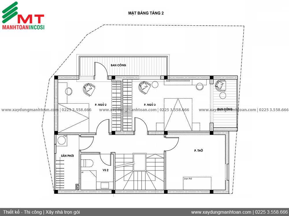 Thiết kế kiến trúc nhà phố 2 tầng 100m2
