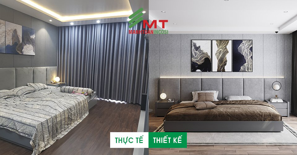 So sánh ảnh thi công thực tế với thiết kế 3D nhà phố khu Lê Hồng Phong