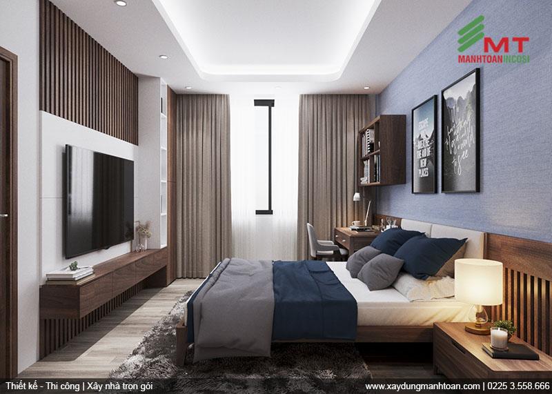 Thiết kế phòng ngủ với tone màu nam tính.