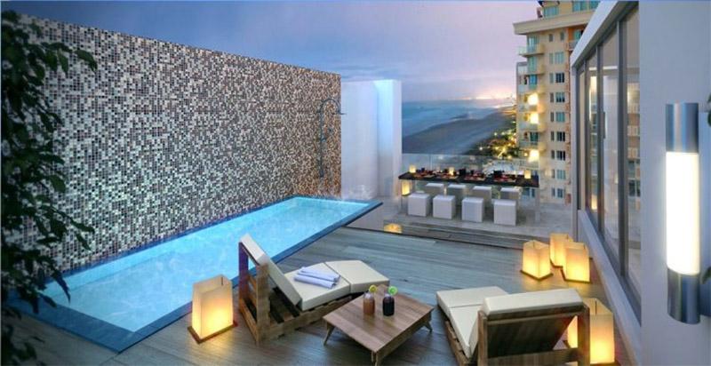 Mẫu thiết kế sân thượng đẹp: Bể bơi mát lạnh