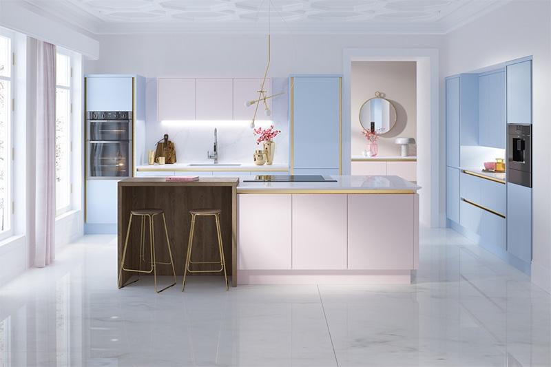 Không gian nội thất nhà bếp đẹp với tone màu pastel