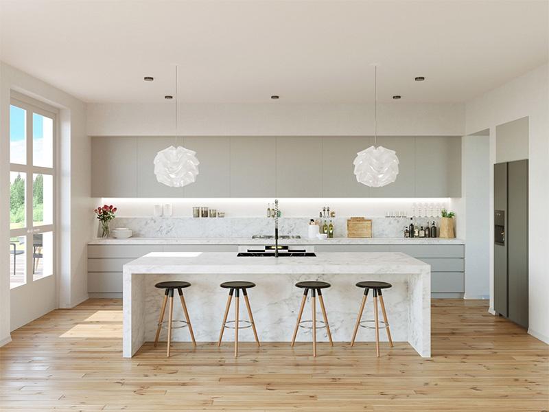 Thiết kế nội thất nhà bếp với đá cẩm thạch