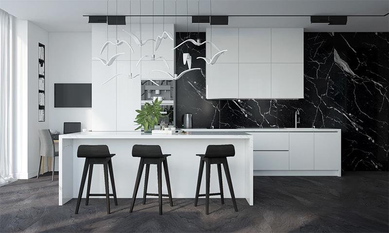 Thiết kế nội thất nhà bếp với tone màu đen trắng