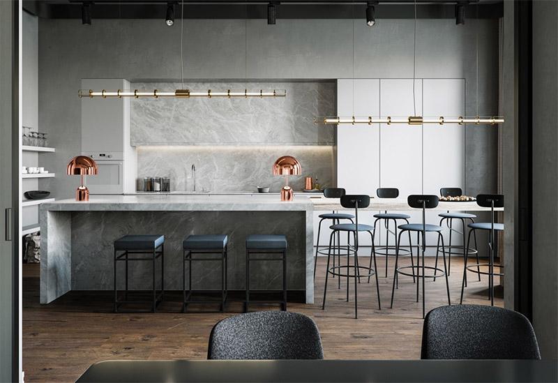 Thiết kế nội thất nhà bếp với vật liệu kim loại