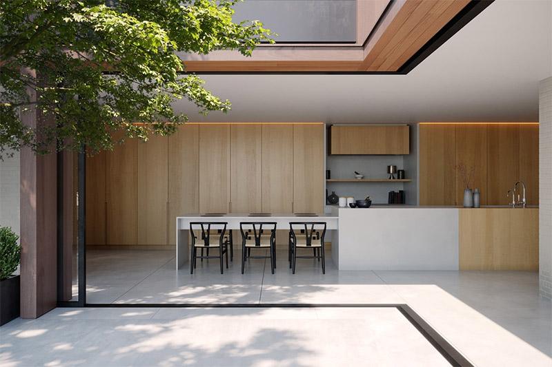Không gian nội thất nhà bếp hài hòa với thiên nhiên