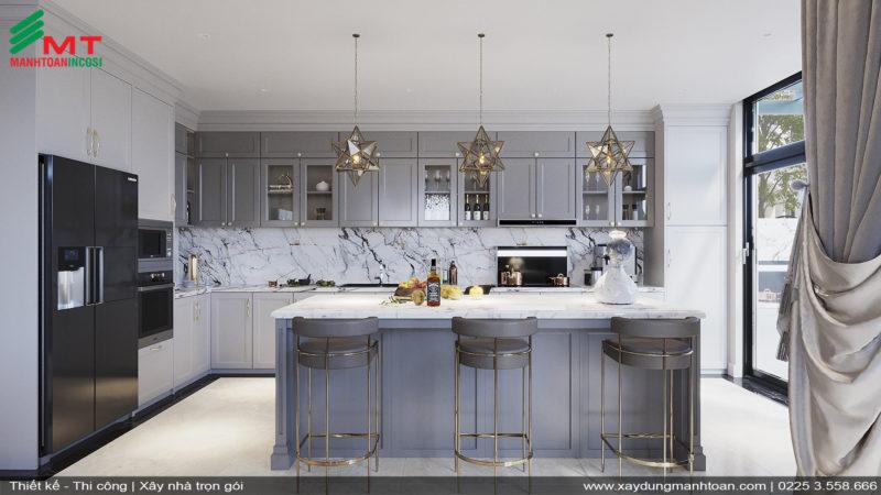 Thiết kế phòng bếp nội thất tân cổ điển