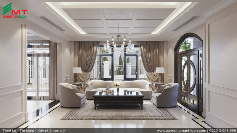 Thiết kế phòng khách nội thất tân cổ điển