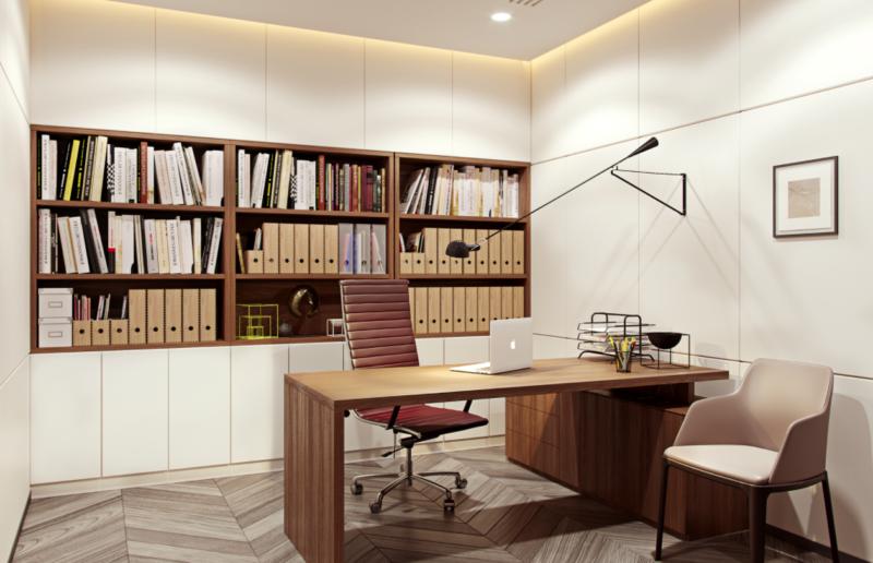 diện tích phòng giám đốc nên cần đối với tổng thể văn phòng