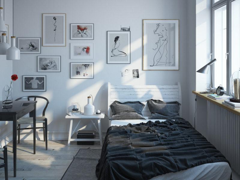 phòng ngủ phong cách scandinavian hiện đại và trầm ổn
