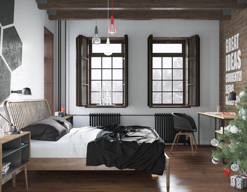 phòng ngủ phong cách Scandinavian với những chất liệu gần gũi với thiên nhiên