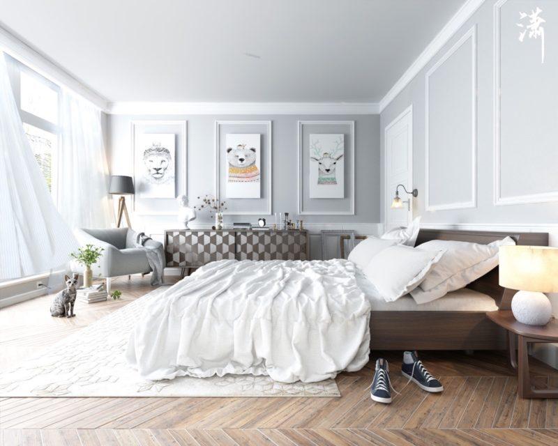 phòng ngủ scandinavian với sàn gỗ ấm áp