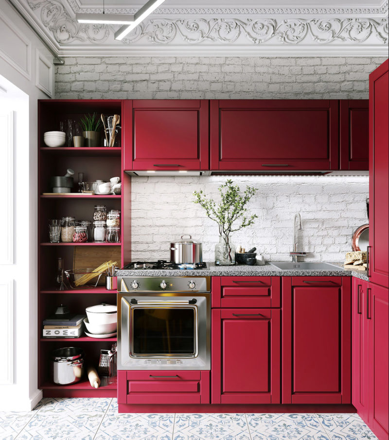 thiết kế tủ bếp chữ L với màu đỏ cuồng nhiệt