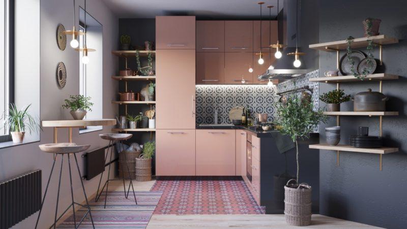 thiết kế tủ bếp chữ L với màu hồng ngọt ngào