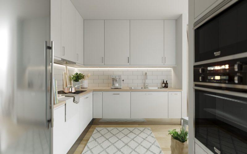 Thiết kế tủ bếp chữ L màu trắng tinh khôi