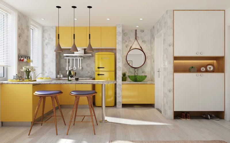 thiết kế tủ bếp chữ L với màu vàng rực rỡ