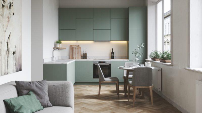 thiết kế tủ bếp chữ L với màu xanh lá tươi mới