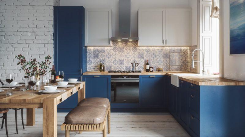 thiết kế tủ bếp chữ L với màu xanh lam độc đáo