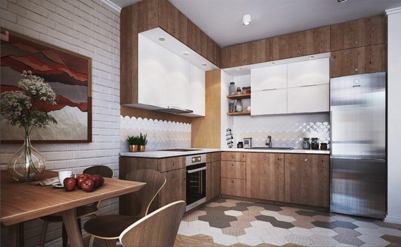 thiết kế tủ bếp chữ L với màu gỗ nguyên bản