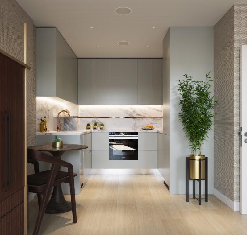 thiết kế phòng bếp với tủ bép chữ u mặt đá cẩm thạch