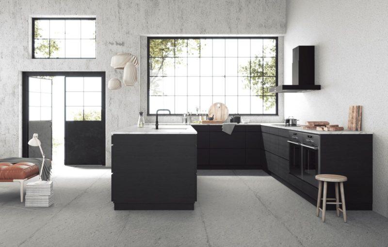 thiết kế phòng bếp với tủ bép chữ u mặt đá granite