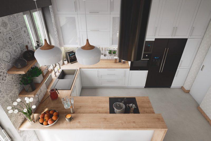 thiết kế phòng bếp với tủ bép chữ u mặt gỗ