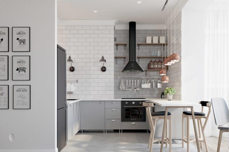 thiết kế phòng bếp với tủ bép chữ u mặt solid surface