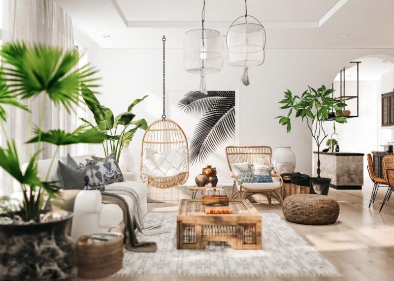 thiết kế phòng khách theo phong cách tropical