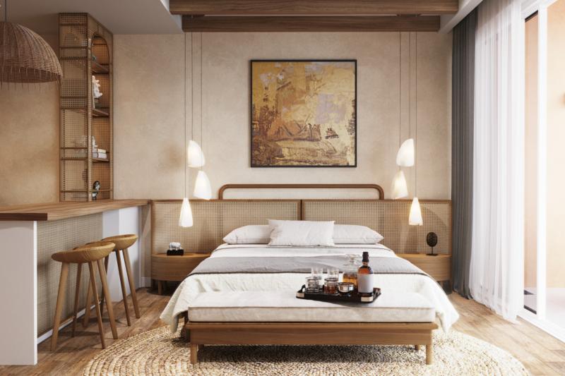 thiết kế phòng ngủ theo phong cách tropical