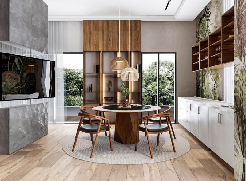 thiết kế phòng bếp theo phong cách tropical